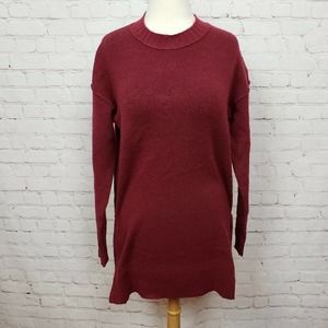 Caslon Side Snap Tunic Sweater In Red Cordovan NWT